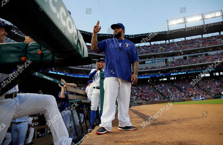 Prince Fielder Retired Texas Rangers player Prince Fielder acknowledges fans after being introduced in the first inning of a baseball game against the Oakland Athletics, in Arlington, Texas