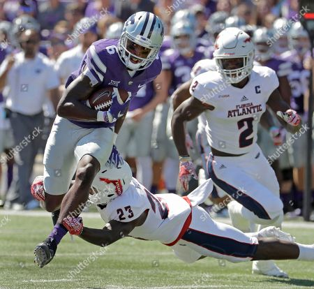 Deante Burton Kansas State wide receiver Deante Burton (6) gets past Florida Atlantic defensive back Raekwon Williams (23) as he runs the ball during the first half of an NCAA college football game, in Manhattan, Kan