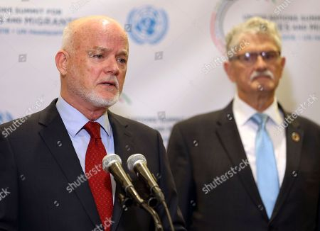 Peter Thomson, Mogens Lykketoft United Nations general assembly president Peter Thomson, left, speaks to reporters while former president Mogens Lykketoft listens before the start of the Summit for Refugees and Migrants at U.N. headquarters