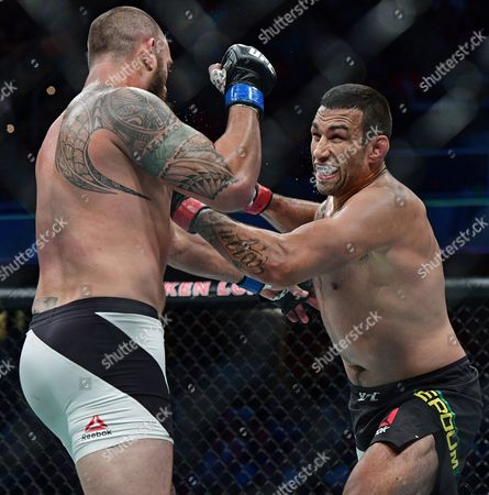Fabricio Werdum, Travis Browne Fabricio Werdum, right, from Brazil, punches Travis Browne during a heavyweight bout at UFC 203, in Cleveland