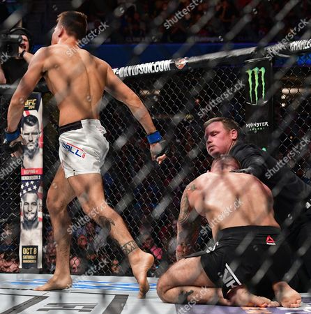 Mickey Gall, CM Punk Mickey Gall celebrates after defeating CM Punk in a welterweight bout at UFC 203, in Cleveland