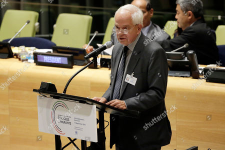Stock Photo of John McCallum Canada's Minister of Immigration, Refugees, and Citizenship John McCallum addresses the United Nations Summit for Refugees and Migrants, in the Trusteeship Council Chamber of the United Nations