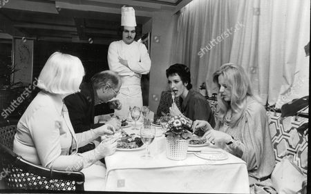 Editorial image of Richard Elvidge The Chef Who Was Sacked From Claridge's For Undersalting A Ratatouille Today Cooked Lunch In Joseph Berkman's Restaurant Ayrton's In Sloane Avenue. Richard Awaits The Verdict From The Panel L-r: Diana Hutchison (daily Mail Journali