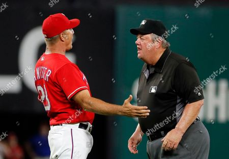Joe West, Jeff Bannister Texas Rangers manager Jeff Banister gestures as he argues with crew chief Joe West after being ejected in the sixth inning of a baseball game against the Los Angeles Angels, in Arlington, Texas