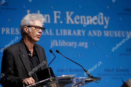 Jim Jarmusch Film maker Jim Jarmusch addresses an audience during PEN New England's Song Lyrics of Literary Excellence Award ceremonies at the John F. Kennedy Library and Museum, in Boston. Tom Waits, his wife, Kathleen Brennan, and folk singer John Prine were presented with the award during ceremonies Monday