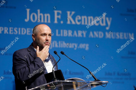 Colum McCann Author Colum McCann addresses an audience during PEN New England's Song Lyrics of Literary Excellence Award ceremonies at the John F. Kennedy Library and Museum, in Boston. Tom Waits, his wife, Kathleen Brennan, and folk singer John Prine were presented with the award during ceremonies Monday