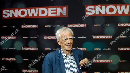 Hans-Christian Stroebele of the Green Party arrives at the red carpet for the European Premiere of 'Snowden' in Munich, Germany