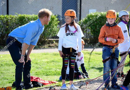 Prince Harry visiting Streetsport (supported by Sported) at Robert Gordon University. An initiative of the Denis Law Legacy Trust which delivers sport and creative activities with the aim of reducing youth crime and anti-social behaviour