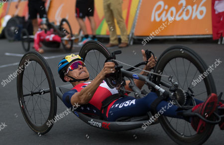 William Groulx, from the United States, competes during the men's team relay H2-5 road cycling final at the Rio 2016 Paralympic games at Pontal beach in Rio de Janeiro, Brazil, . Italy's team Vittorio Pedestal, Luca Mazzone and Alessandro Zanardi won the gold medal, the US got silver and Belgium bronze