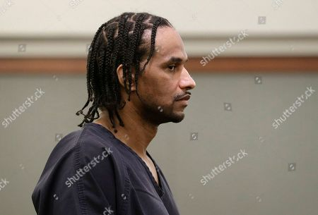 Stock Image of Corry Hawkins appears in court, in Las Vegas. Hawkins was sentenced Tuesday to life without parole for his role as an accomplice in a life insurance murder plot by a mother of four to kill her husband, a U.S. Air Force service member from Guam