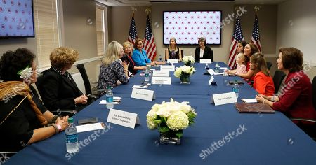 Ivanka Trump Ivanka Trump, top left, daughter of Republican presidential candidate Donald Trump, listens during a meeting with women members of Congress at the Republican National Committee headquarters, in Washington. The group discussed children's issues. From left are, Del. Aumua Amata Coleman Radwagen, R-American Samoa, Rep. Susan Brooks, R-Ind., Rep. Renee Ellmers, R-N.C., Rep. Virginia Foxx, R-N.C., Rep. Marsha Blackburn, R-Tenn., Sen. Deb. Fischer, D-Neb., Trump, and Rep. Cathy McMorris Rodgers, R-Wash