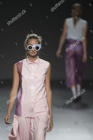 Stock Photo of Almudena Canedo on the catwalk
