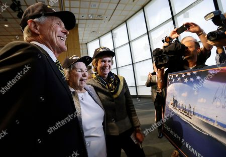 Ray Mabus, Ethel Kennedy, Kathleen Kennedy Townsend Navy Secretary Ray Mabus, left, Ethel Kennedy, widow of Sen. Robert F. Kennedy, and daughter Kathleen Kennedy Townsend smile as they look at a rendering of the Robert F. Kennedy Navy Ship named at the John F. Kennedy Presidential Library, in Boston. The new ship's job will be to restock and refuel other ships already at sea. Ships in this class are being named in honor of civil and human rights heroes