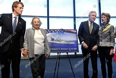 Ethel Kennedy, Joseph P. Kennedy III, Ray Mabus, Kathleen Kennedy Townsend Ethel Kennedy, widow of Sen. Robert F. Kennedy, holds hands with grandson Joseph P. Kennedy III, left, while Navy Secretary Ray Mabus chats with her daughter Kathleen Kennedy Townsend, as they pose near a rendering of the Robert F. Kennedy Navy Ship named at the John F. Kennedy Presidential Library, in Boston. The new ship's job will be to restock and refuel other ships already at sea. Ships in this class are being named in honor of civil and human rights heroes