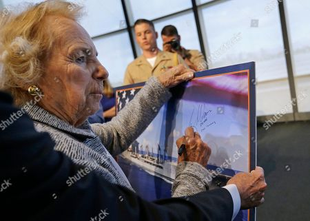Ethel Kennedy Ethel Kennedy, widow of Sen. Robert F. Kennedy, signs a rendering of the Robert F. Kennedy Navy Ship during the naming ceremony at the John F. Kennedy Presidential Library, in Boston. The new ship's job will be to restock and refuel other ships already at sea. Ships in this class are being named in honor of civil and human rights heroes