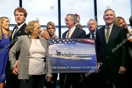 Ethel Kennedy, Joseph P. Kennedy III, Ray Mabus Ethel Kennedy, widow of Sen. Robert F. Kennedy, front left, holds hands with grandson Joseph P. Kennedy III, left, while Navy Secretary Ray Mabus, right, gather with Kennedy family members to pose near a rendering of the Robert F. Kennedy Navy Ship named at the John F. Kennedy Presidential Library, in Boston. The new ship's job will be to restock and refuel other ships already at sea. Ships in this class are being named in honor of civil and human rights heroes