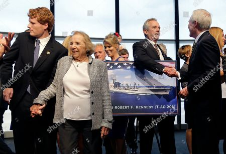 Ethel Kennedy, Joseph P. Kennedy III, Robert F. Kennedy Jr. Ray Mabus Ethel Kennedy, widow of Sen. Robert F. Kennedy, holds hands with grandson Joseph P. Kennedy III, left, while Robert F. Kennedy Jr. shakes hands with Navy Secretary Ray Mabus, right, as they gather with family members to pose near a rendering of the Robert F. Kennedy Navy Ship named at the John F. Kennedy Presidential Library, in Boston. The new ship's job will be to restock and refuel other ships already at sea. Ships in this class are being named in honor of civil and human rights heroes