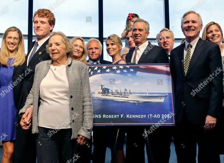 Ethel Kennedy, Joseph P. Kennedy III, Lauren Kennedy, Ray Mabus, Joseph P. Kennedy II, Robert F. Kennedy Jr Ethel Kennedy, widow of Sen. Robert F. Kennedy, holds hands with grandson Joseph P. Kennedy III, left, alongside his wife, Lauren, far left, while Navy Secretary Ray Mabus, second from right, poses with other family members including Joseph P. Kennedy II, fifth from left, and Robert F. Kennedy Jr., fourth from right, near a rendering of the Robert F. Kennedy Navy Ship named at the John F. Kennedy Presidential Library, in Boston. The new ship's job will be to restock and refuel other ships already at sea. Ships in this class are being named in honor of civil and human rights heroes