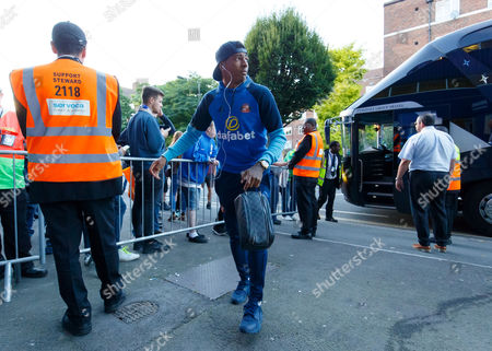 Patrick Van Aanholt of Sunderland arrives 15 minutes after the rest of the team after having a meeting with the Sunderland CEO Martin Bain on the team bus outside the grounds during the EFL Cup Second Round match between QPR and Sunderland played at Loftus Road Stadium, London on 21st September 2016