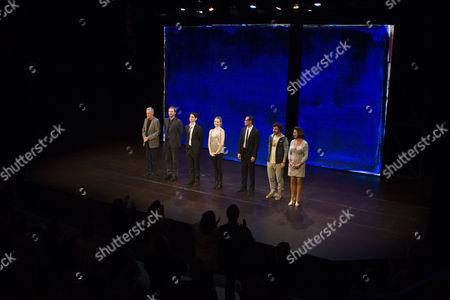 Michael Simkins (Stuart), Simon Wilson (Mulholland), Harry Lloyd (Jack), Freya Mavor (Annie), Steve John Shepherd (Charlie), Ilan Goodman (Jeff) and Sally Rogers (Sylvia) during the curtain call