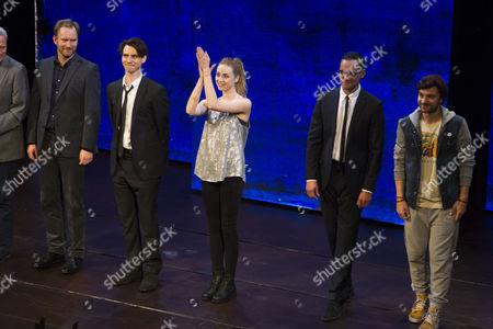 Simon Wilson (Mulholland), Harry Lloyd (Jack), Freya Mavor (Annie), Steve John Shepherd (Charlie) and Ilan Goodman (Jeff) during the curtain call