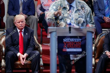 Donald Trump, Don King Republican presidential candidate Donald Trump listens as he is introduced by boxing promoter Don King at the Pastors Leadership Conference at New Spirit Revival Center, in Cleveland, Ohio