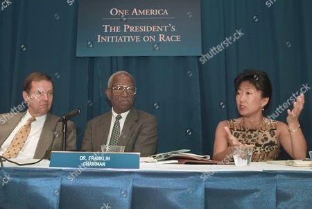 OH KEAN FRANLIN Attorney Angela Oh of Los Angeles talks to the the presidential advisory board on race relations during its first meeting, in Washington. The White House set up the board to help coordinate the campaign to educate the nation about race, to promote a dialogue and develop solutions to help bridge the nation's racial divide. Former New Jersey Gov. Thomas Kean is at left and in center is board chairman John Hope Franklin. Oh served as special counsel to the Assembly Special Committee on the Los Angeles Crisis following the Rodney King riots