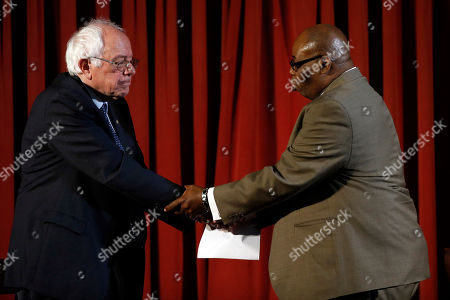Bernie Sanders Democratic presidential candidate, Sen. Bernie Sanders I-Vt., shakes hands with Rev. Robert L. Johnson during a campaign stop, at Tindley Temple United Methodist Church in Philadelphia