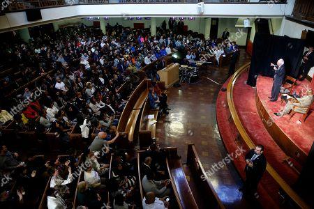 Bernie Sanders Democratic presidential candidate, Sen. Bernie Sanders I-Vt., accompanied by the Rev. Robert L. Johnson, speaks during a campaign stop, at Tindley Temple United Methodist Church in Philadelphia