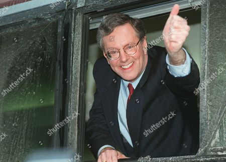 FORBES Republican presidential hopeful Steve Forbes gives the thumbs up sign aboard his bus after speaking with Gabe Pressman on NBC-TV's News Forum, in New York. Forbes is campaigning for Thursday's primary in New York