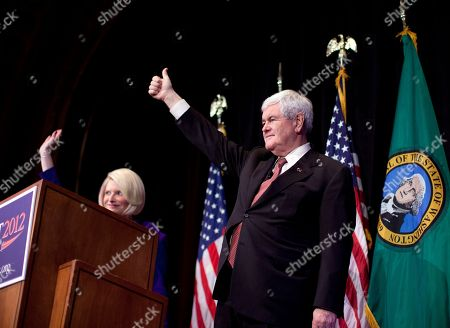 Newt Gingrich Republican presidential candidate, former House Speaker Newt Gingrich, right, and his wife Callista wave during a campaign stop at the Bing Crosby Theatre in Spokane, Wash