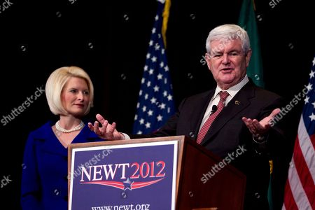 Newt Gingrich, Callista Gingrich Republican presidential candidate, former House Speaker Newt Gingrich speaks as his wife Callista listens during a campaign stop at the Bing Crosby Theatre in Spokane, Wash