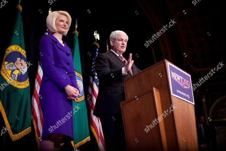 Newt Gingrich, Callista Gingrich Republican presidential candidate, former House Speaker Newt Gingrich speaks as his wife Callista listens during a campaign stop at the Bing Crosby Theatre on in Spokane, Wash