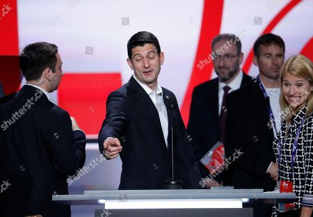 Paul Ryan, Janna Ryan Speaker of the House Paul Ryan, R-Wis., joined by his wife Janna Ryan, preview the stage and do a sound check at the Republican National Convention in Cleveland