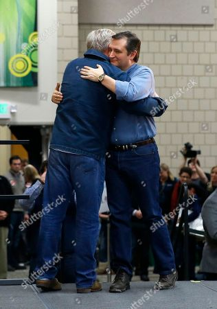 Ted Cruz, Glenn Beck Republican presidential candidate, Sen. Ted Cruz, R-Texas, right, hugs radio and television personality Glenn Beck during a campaign event at Western Iowa Tech Community College in Sioux City, Iowa