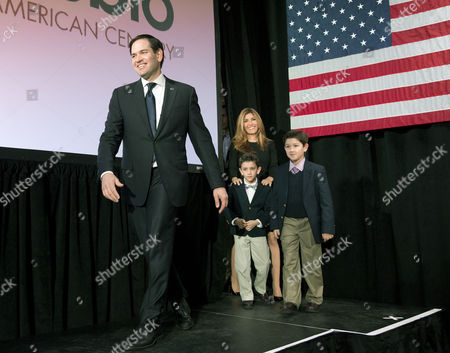 Marco Rubio, Jeanette, Anthony, Domonick Republican presidential candidate Sen. Marco Rubio, R-Fla, is followed on stage by his wife Jeanette and sons Dominick, left, and Anthony during an election-night rally, in Columbia, S.C