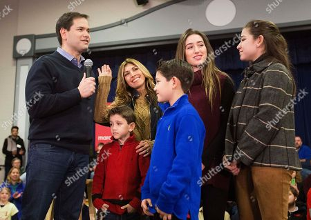 Marco Rubio, Jeanette Rubio, Dominic Rubio, Anthony Rubio, Amanda Rubio, Daniella Rubio Republican presidential candidate, Sen. Marco Rubio, R-Fla., left, is joined by his wife Jeanette and their children from left, Dominic, Anthony, Amanda, and Daniella, at a campaign event at Gilbert H. Hood Middle School, in Derry, N.H