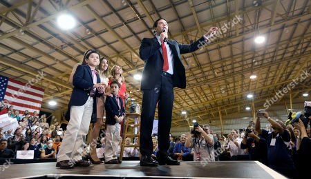 Marco Rubio, Jeanette Rubio Republican presidential candidate, Sen. Marco Rubio, R-Fla., talks to supporters at a campaign rally, in Miami. Accompanying Rubio are his wife, Jeanette, and children