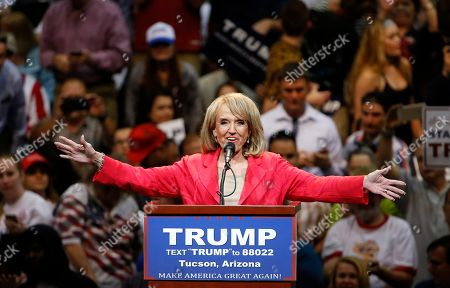 Donald Trump, Jan Brewer Former Republican Arizona Gov. Jan Brewer speaks to the assembled crowd prior to Republican presidential candidate Donald Trump speaking at a campaign rally, in Tucson, Ariz