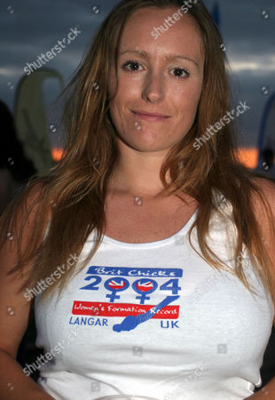 Stock Image of Maria Russell photographed in Aug 2004. Russell collided with fellow skydiver Tamsin 'Taz' Causer in the air over Empuria Brava, north of Gerona, Spain on 26 May 2006. Russell survived but Causer was knocked unconcious and drowned.
