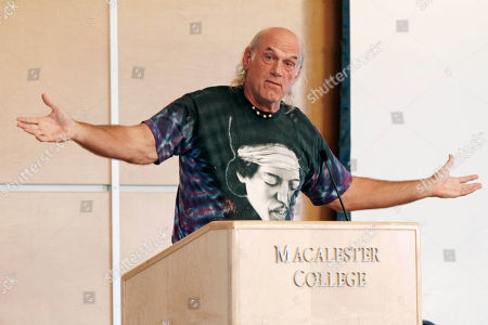Stock Image of Jesse Ventura Former Minnesota Gov. Jessie Ventura, wearing a shirt featuring guitarist Jimi Hendrix, speaks at Macalester College in St. Paul, Minn., prior to an address by former New Mexico governor Gary Johnson, who is on a nationwide college tour, part of Johnson's Libertarian Party presidential campaign