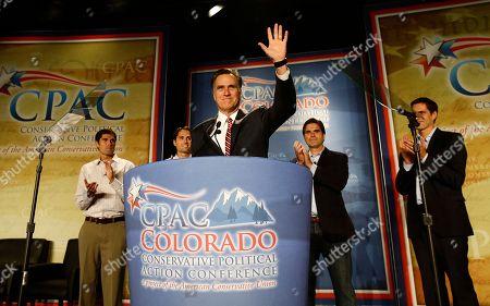 Mitt Romney, Matt Romney, Craig Romney, Tagg Romney, Josh Romney Republican presidential candidate, former Massachusetts Gov. Mitt Romney speaks at a Colorado Conservative Political Action Committee (CPAC) meeting in Denver, . At rear are sons Matt, Craig, Tagg, Josh Romney
