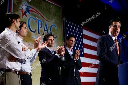 Mitt Romney, Matt Romney, Craig Romney, Tagg Romney, Josh Romney Republican presidential candidate, former Massachusetts Gov. Mitt Romney speaks at a Colorado Conservative Political Action Committee (CPAC) meeting in Denver, . At rear are sons Matt, Craig, Tagg, and Josh Romney