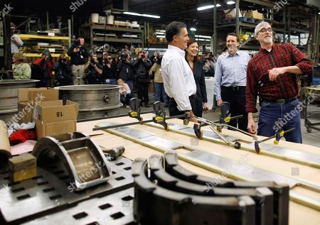 Mitt Romney, Kelly Ayotte, Tim Pawlenty, Jim Gilchrist Republican presidential candidate, former Massachusetts Gov. Mitt Romney, accompanied by Sen. Kelly Ayotte, R-N.H. and former Minnesota Gov. Tim Pawlenty, tours Gilchrist Metal Fabricating with owner Jim Gilchrist, right, in Hudson, N.H