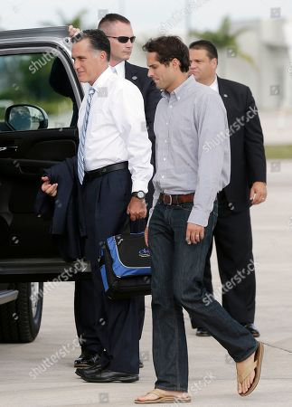Mitt Romney, Craig Romney Republican presidential candidate and former Massachusetts Gov. Mitt Romney and son Craig Romney step off their campaign charter plane in Miami