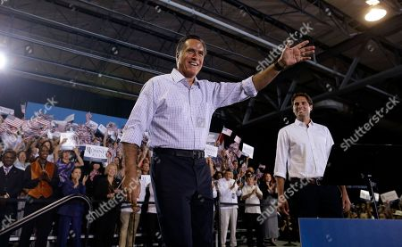 Mitt Romney, Craig Romney Republican presidential candidate and former Massachusetts Gov. Mitt Romney and son Craig Romney campaign at a rally at Darwin Fuchs Pavilion in Miami