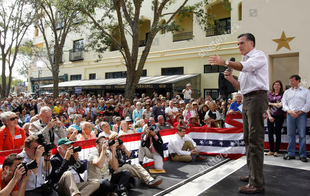 Mitt Romney, Connie Mack, Mary Bono Mack Republican presidential candidate, former Massachusetts Gov. Mitt Romney, campaigns at Sugden Plaza in Naples, Fla., . At rear is Rep. Mary Bono Mack, R-Calif., and Rep. Connie Mack, R-Fla