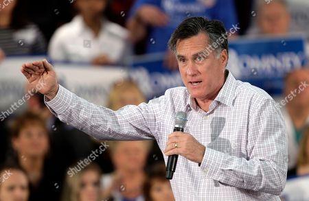 Mitt Romney Republican presidential candidate, former Massachusetts Gov. Mitt Romney campaigns at the Emma Lou Olson Civic Center, in Pompano Beach, Fla