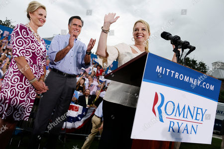 Mitt Romney, Ann Romney, Pam Bondi Florida's Attorney General Pam Bondi campaigns for Republican presidential candidate and former Massachusetts Gov. Mitt Romney and wife Ann at Tradition Town Square in Port St. Lucie, Fla