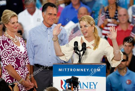 Mitt Romney, Pam Bondi, Ann Romney Florida's attorney general Pam Bondi, right, introduces Republican presidential candidate and former Massachusetts Gov. Mitt Romney, center, and his wife Ann, left, during a campaign rally, in Port St. Lucie, Fla